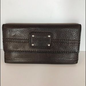 Fossil brown leather  trifold wallet